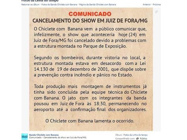 Comunicado Chiclete com Banana Juiz de Fora (Foto: Reprodução/Facebook)