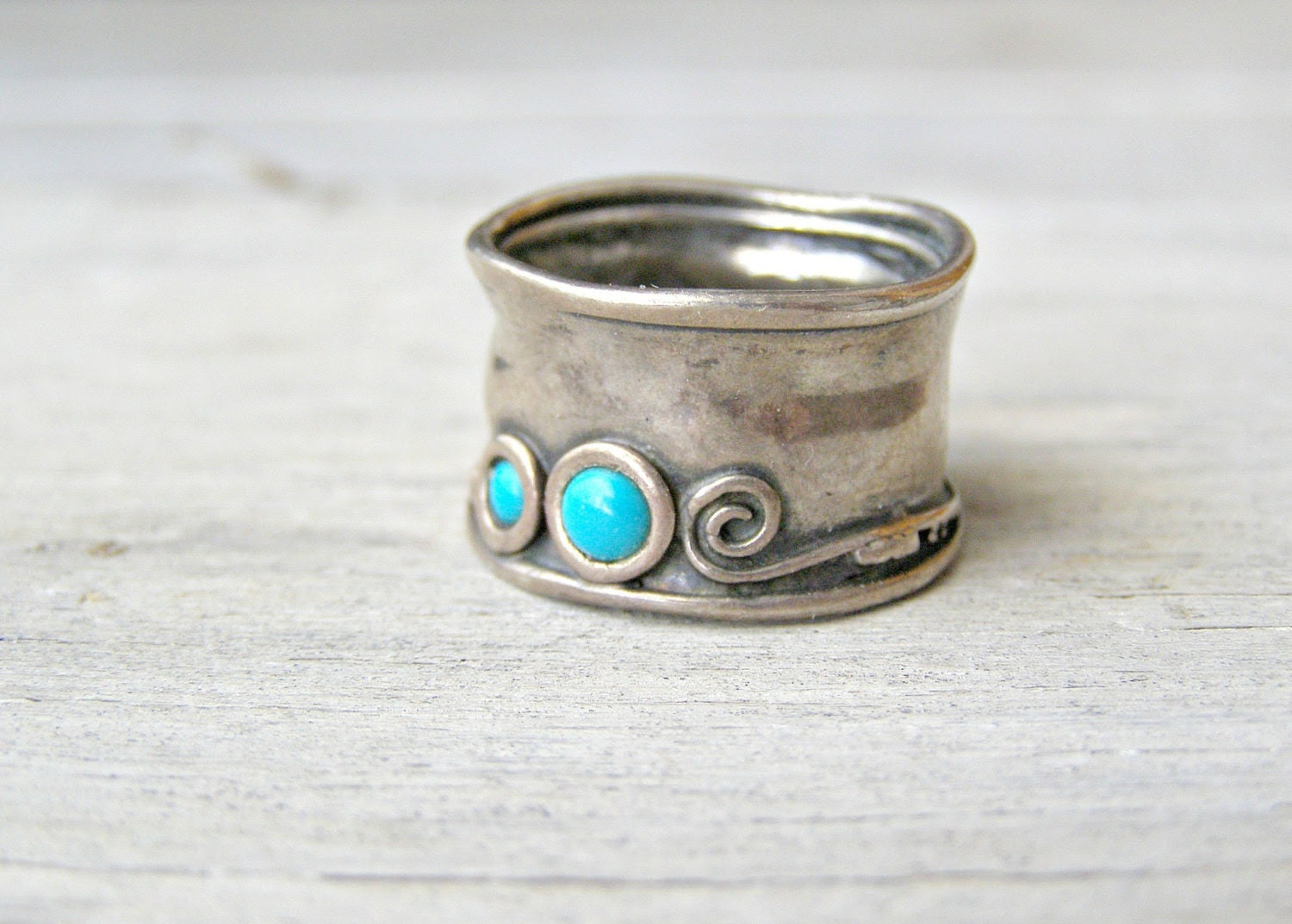 Sterling Silver Turquoise Ring, Boho 80s, Retro modern jewelry, gift for woman, gift for wife, Graduation Gift - MeshuMaSH