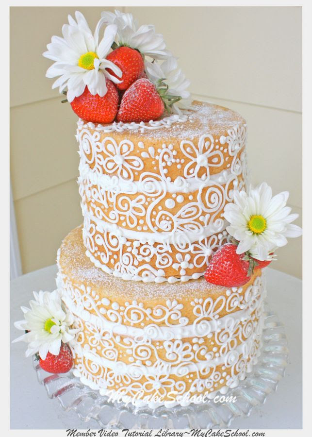 """This elegant, """"semi dressed"""" cake is a twist on the popular rustic naked cake!  From MyCakeSchool.com's member video tutorial library."""