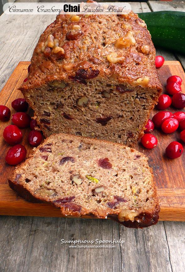 Cinnamon Cranberry Chai Zucchini Bread | Sumptuous Spoonfuls