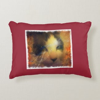 snowshoe full of warmth kitty accent pillow