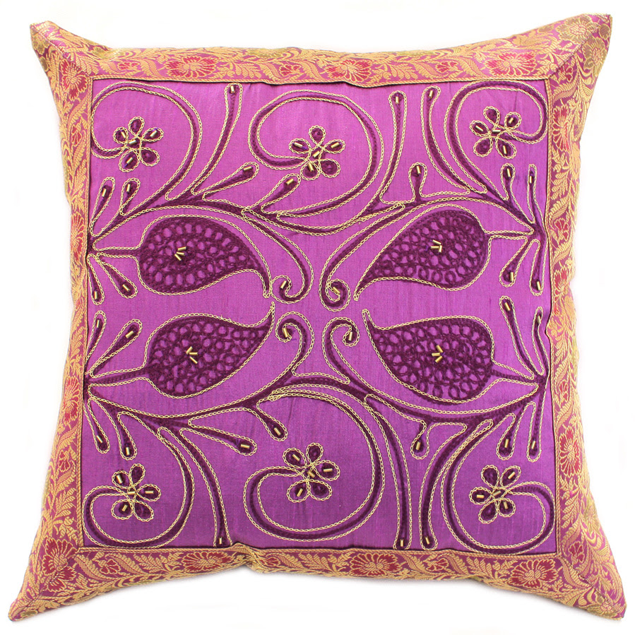 Ornamental Embroidered Pillow Cover | Banarsi Designs