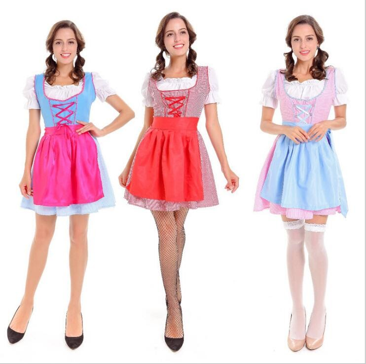 Recommended  2017 Oktoberfest Beer Festival October Dirndl sexy Maid lingerie Dress Apron Blouse Gown German Wen