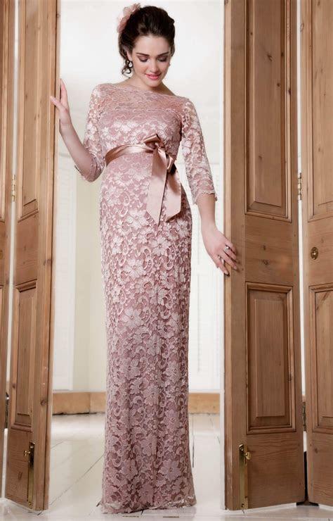 Amelia Lace Maternity Dress Long (Vintage Rose