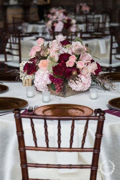 Trending 10 Burgundy and Blush Wedding Centerpieces for