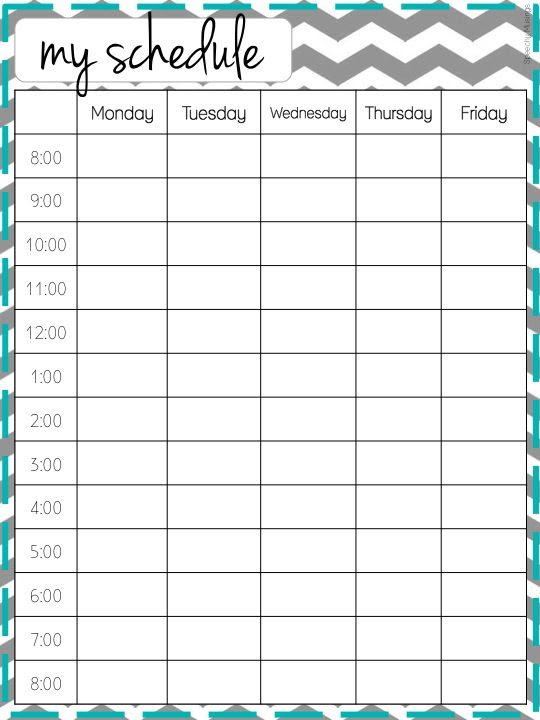 daily / weekly schedule template - More Schedule Templates at ...