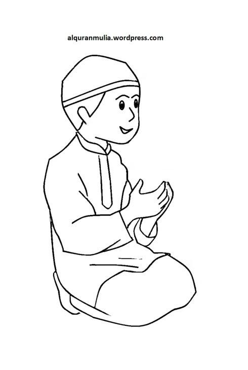 Gambar Mewarnai Gambar Sketsa Kartun Anak Muslim 32 Auto