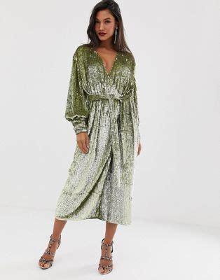ASOS EDITION sequin wrap midi dress   ASOS