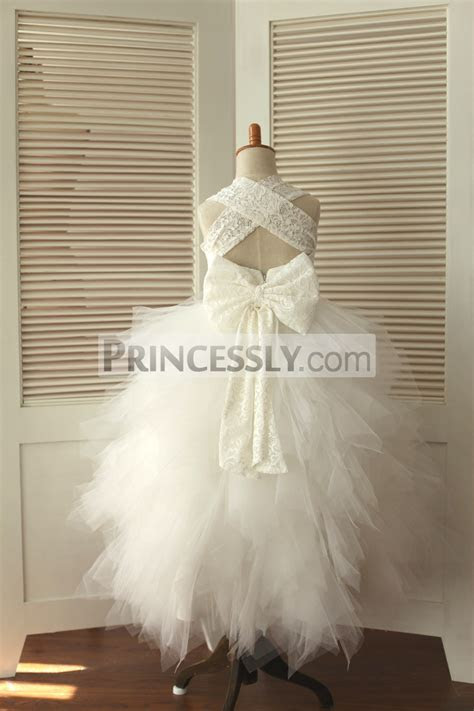 Backless Ivory Lace Feathered Tulle Skirt Flower Girl