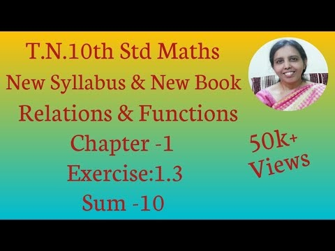 10th std Maths New Syllabus (T.N) 2019 - 2020 Relations & Functions Ex:1.3-10