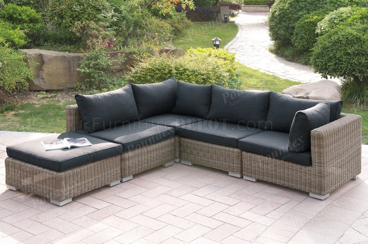417 Outdoor Patio 5Pc Sectional Sofa Set by Poundex w/Options