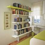 Indoor : Small Teenage Bedroom With Floating Bookshelf And Green ...