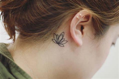 minimalist lotus flower tattoo    ear