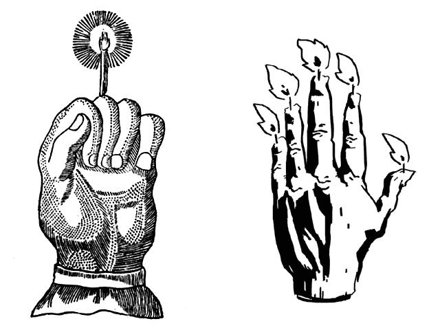 Dos formas diferentes de preparar una Mano de la Gloria.