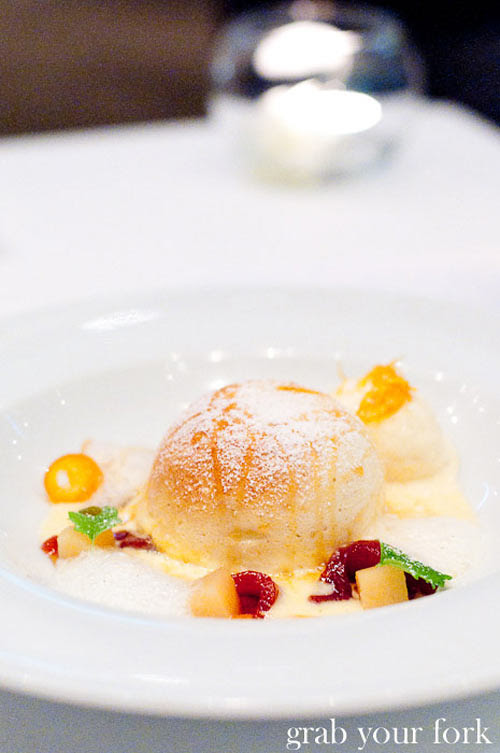Becasse twice baked quince souffle with spiced anglaise, candied orange and vanilla ice cream