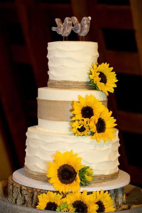Ivory Wedding Cake with Sunflowers   Wedding Reception