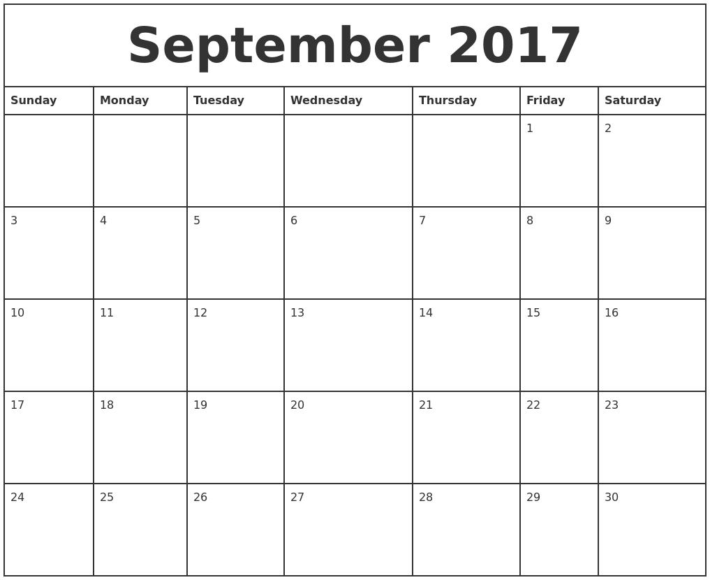 September 2017 Printable Monthly Calendar PDF39;s