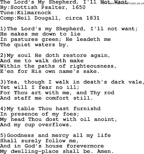 The Lord Is My Shepherd Lyrics