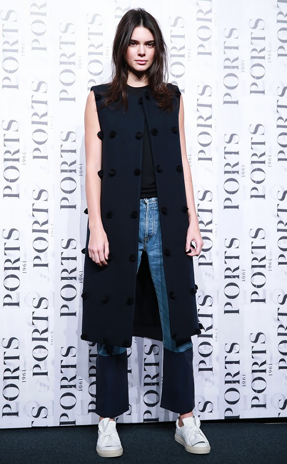 sleevelss jacket long vest patchwork denim cropped jeans via getty