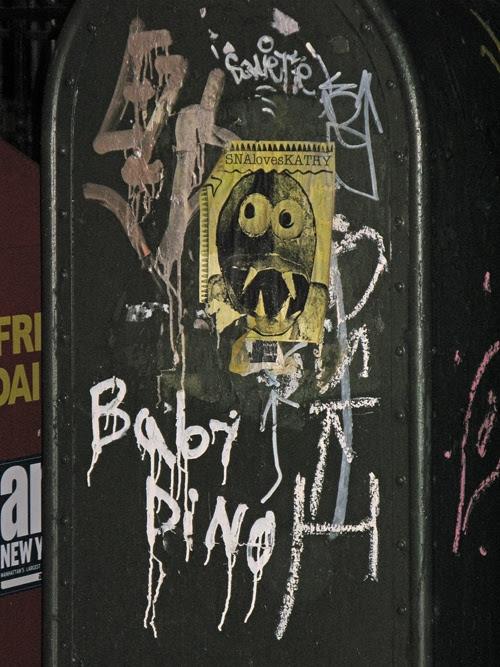 graffiti on mailbox, Manhattan, NYC