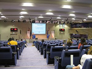 Press room of the European Commission inside t...