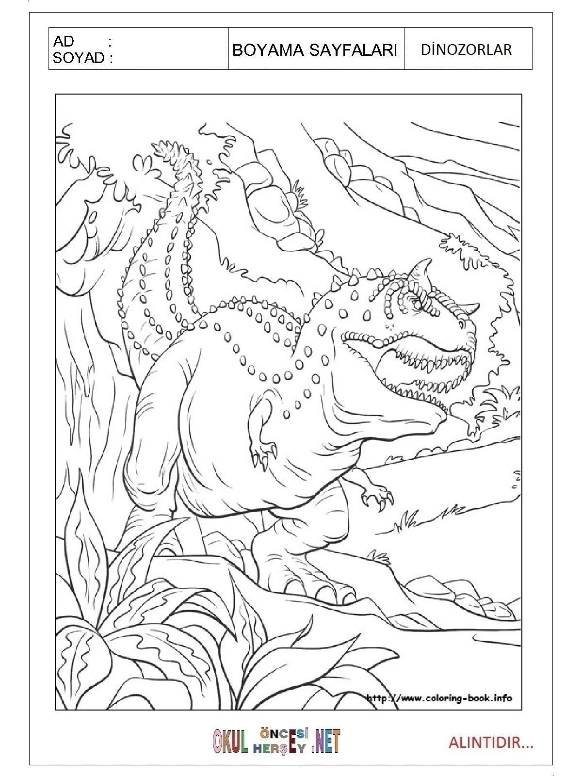 Dinozorlar Boyama Sayfaları