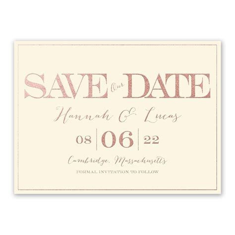 Our Love Foil Save the Date Card   Invitations By Dawn