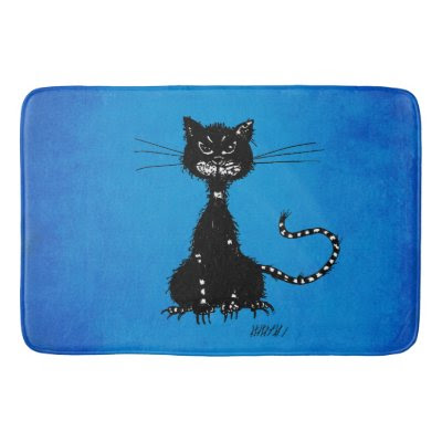 Blue Ragged Evil Black Cat Bath Mats