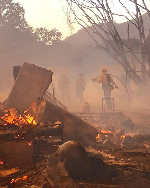 Firefighters work to battle a wildfire in an area near Mendocino National Forest, California, August 4, 2018 in this picture obtained from social media. Beverly Hills Firefighters/via REUTERS