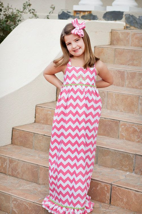 Hot pink chevron maxi dress