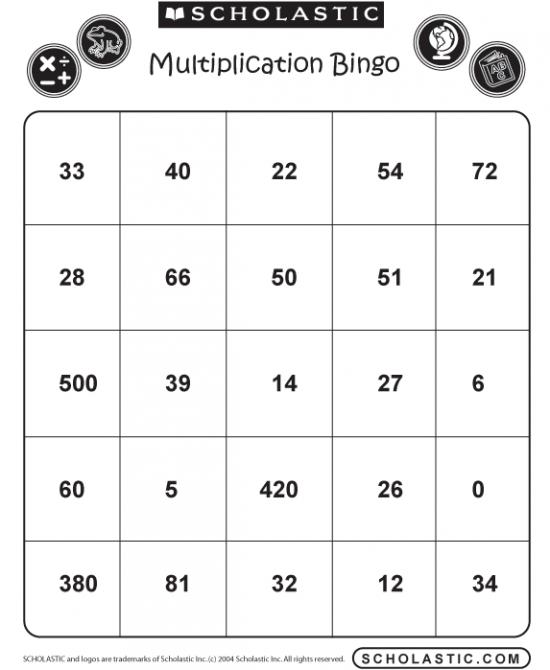 Free Multiplication Bingo Printables - 24/7 Moms