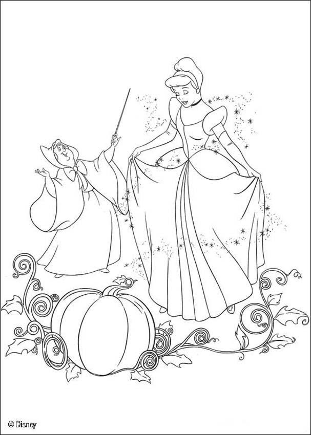 Cinderella with the fairy godmother coloring pages ...