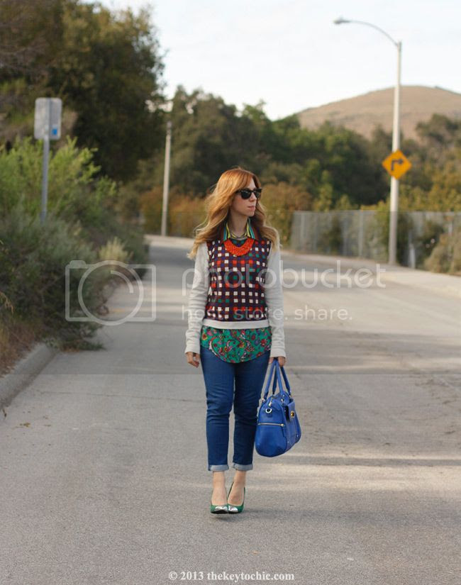 Duro Olowu for JCPenney paisley stripe blouse and plaid sweater, Mossimo Viveca cap toe pumps, Merona turnlock satchel, 7 for All Mankind jeans, Los Angeles fashion blog