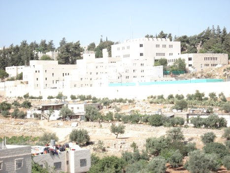 palestinian home below israeli terrorist colony kiryat arba that is regularly attacked by israeli terrorists