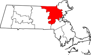 Map of Massachusetts highlighting Middlesex County