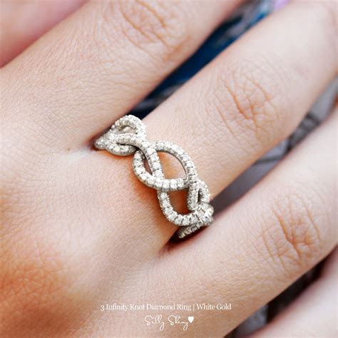 Infinity Celtic Love Knot Diamond Ring, Triple Figure 8