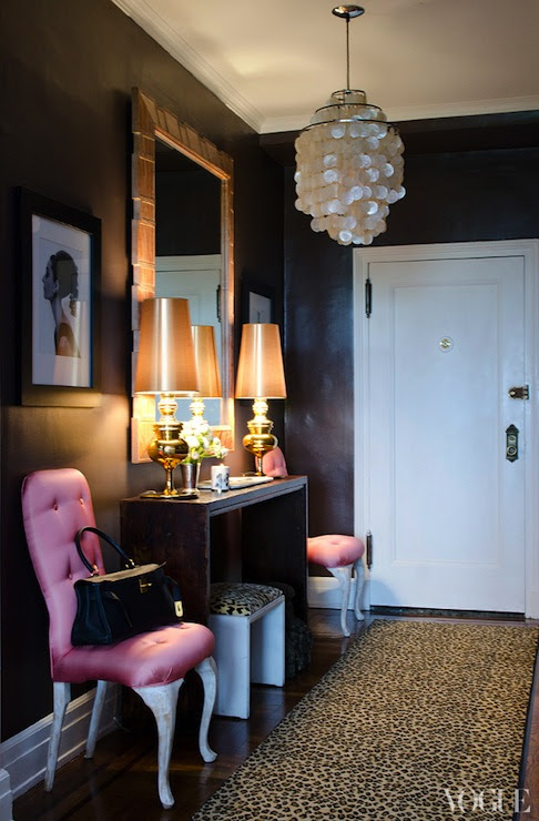 Hoy pink tufted chairs flanking console table, capiz pendant, Cheetah ...