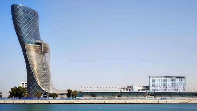 The Capital Gate building has been deliberately engineered to slant.