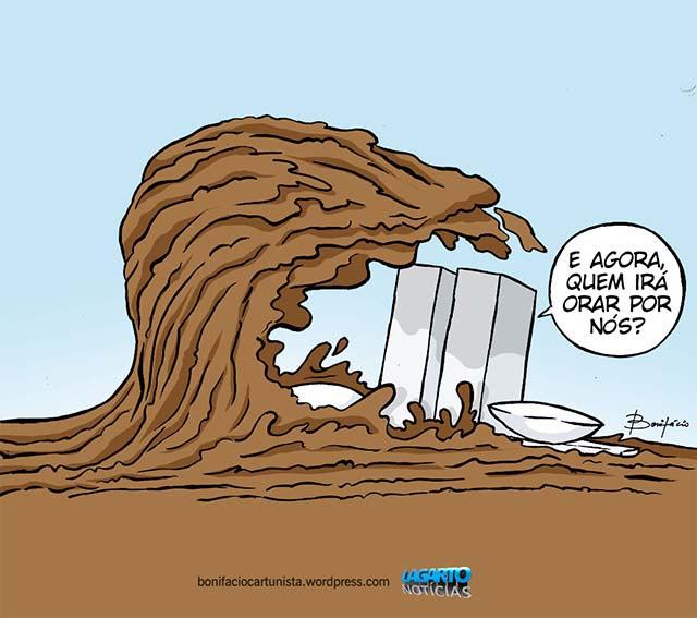 Resultado de imagem para tsunami politico charge