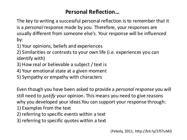 how to write a personal reflection essay