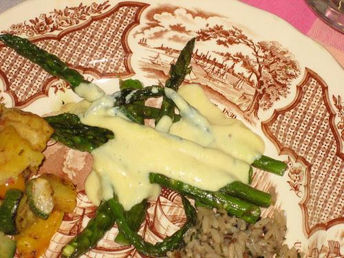 asparagus with mock hollandaise