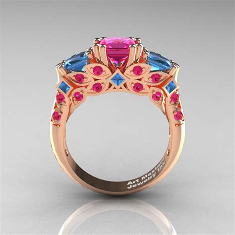 Classic 14K Rose Gold Three Stone Princess Pink Sapphire
