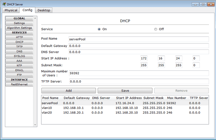 DHCP server configuration on packet tracer 5.3