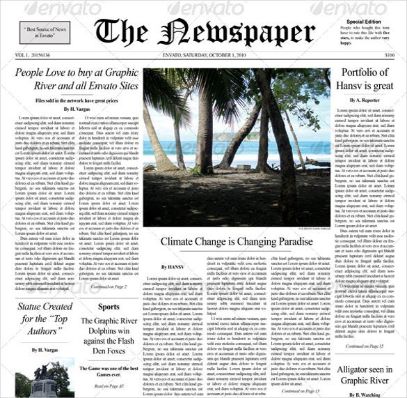 12+ Newspaper Front Page Templates – Free Sample, Example, Format ...