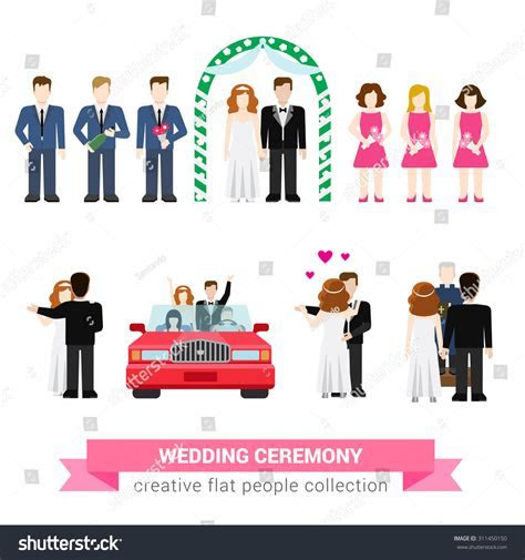 Super Wedding Ceremony Marriage Flat Style Stock Vector