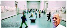 «Το Βρετανικό Μουσείο», λέει ο Τζορτζ Μπίζος (δεξιά), δικηγόρος του Νέλσον Μαντέλα, «ισχυρίζεται  πως έχει αγοράσει νόµιµα τα Γλυπτά του Παρθενώνα,  όµως αυτό καταρρίπτεται νοµικώς». Στη µεγάλη φωτογραφία, η αίθουσα του Μουσείου µε τα ανάγλυφα  αρχιτεκτονικά µέλη από τον ναό της Ακρόπολης