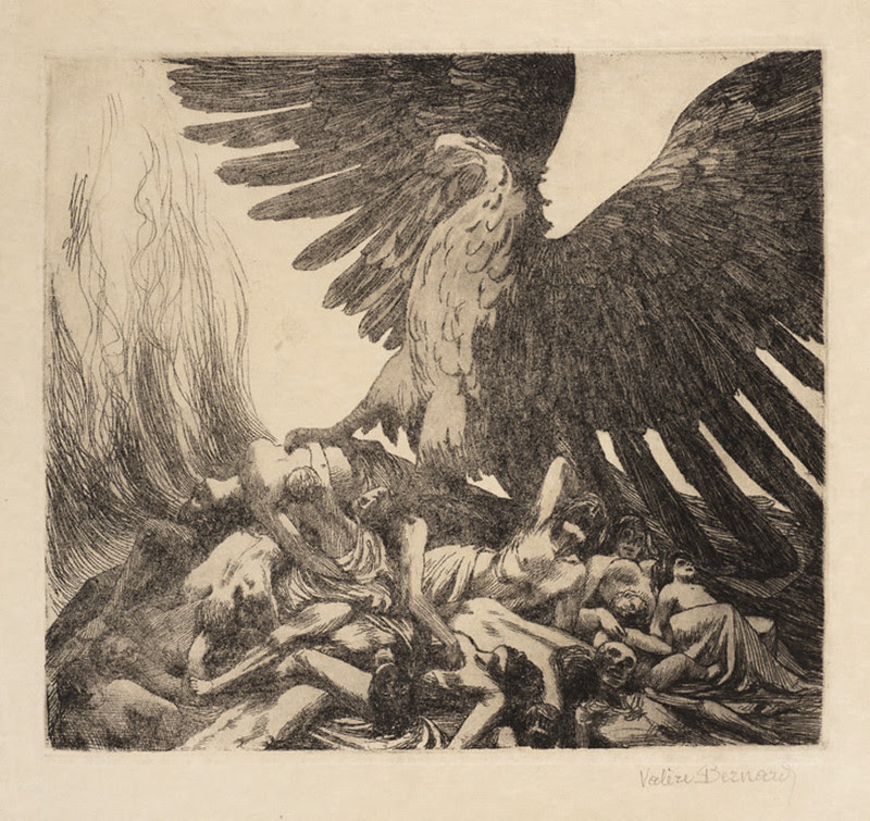 Valère Bernard - Allegory of war. (German eagle crushing a pile of corpses) 1914
