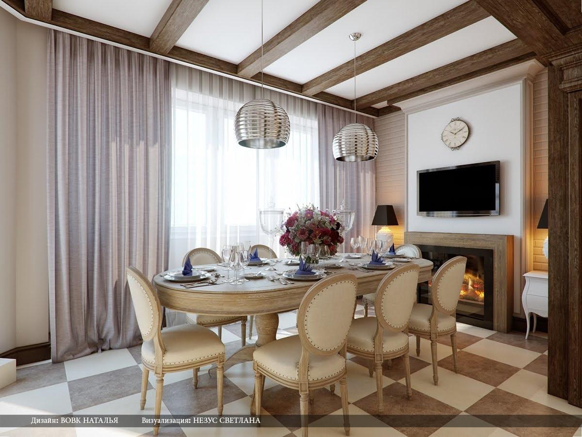 Cream brown chequered floor dining roomInterior Design Ideas.