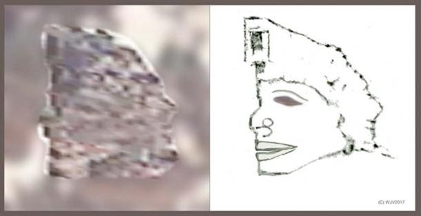 FIGURES 8 and 8a: This figure, 23 meters high x 20 meters in width is clearly of 'Native' ancestry. The head appears to have an unusual projecting jawline. A gnomon records the 170.16.26.00 longitude co-ordinate of this particular image.