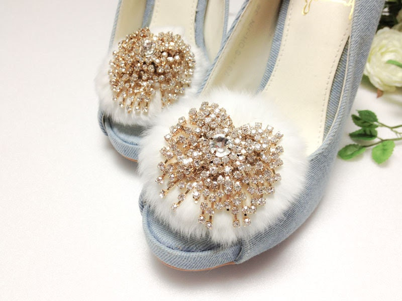 Sparkling Vintage style Gold plated Crystal White fur shoe clips-Limited Edition